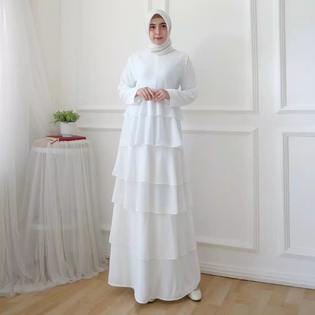 Gamis Putih Ceruti Susun Wanita Muslimah Kekinian COD Modesee M12 By  Alivia