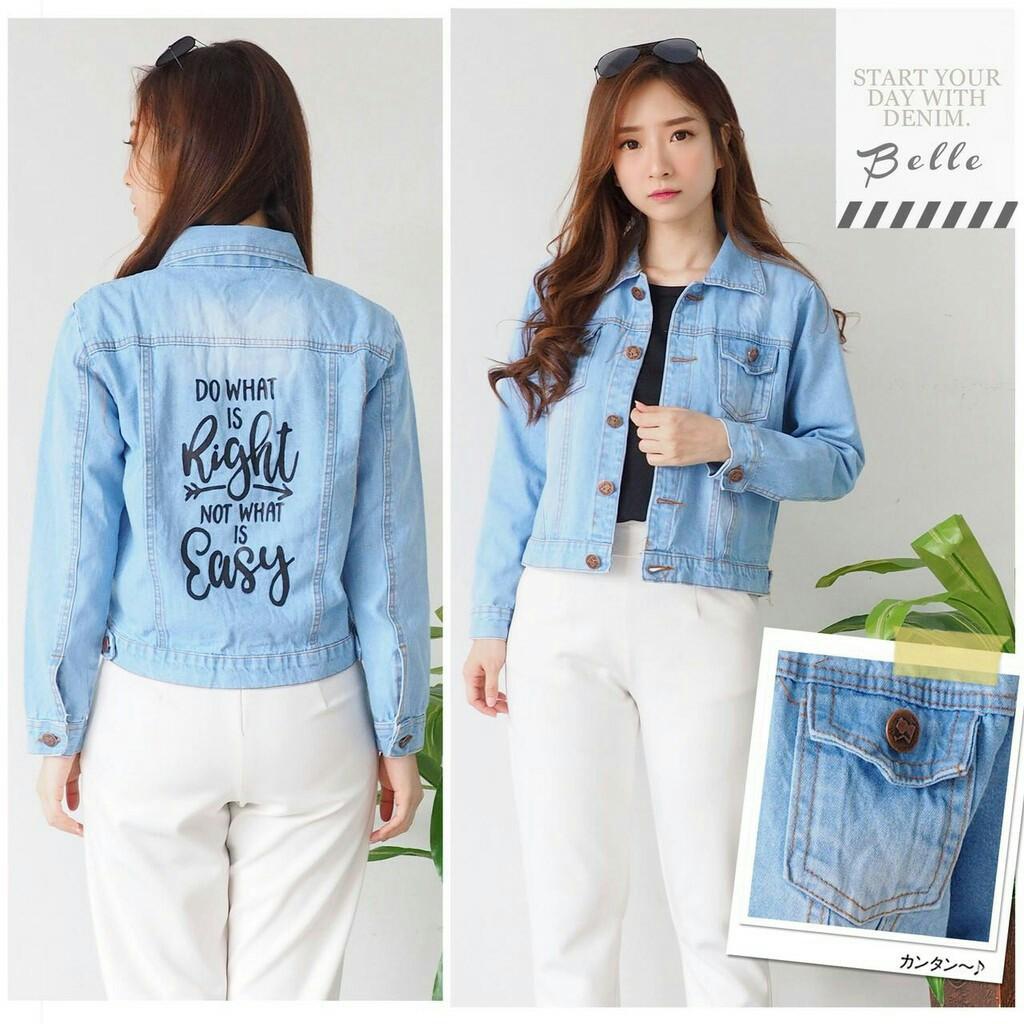 Atasan Blouse Kemeja Jeans Wanita Jumbo Vita Biru Muda Daftar Hijablana Aulia Tunik Outer