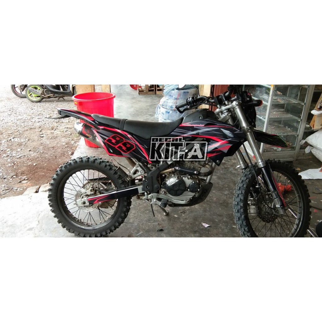 Decal Stiker Motor KLX BF 150 G Minimalis Simple Merah Hitam Sticker Striping KLX 150 D A3 111
