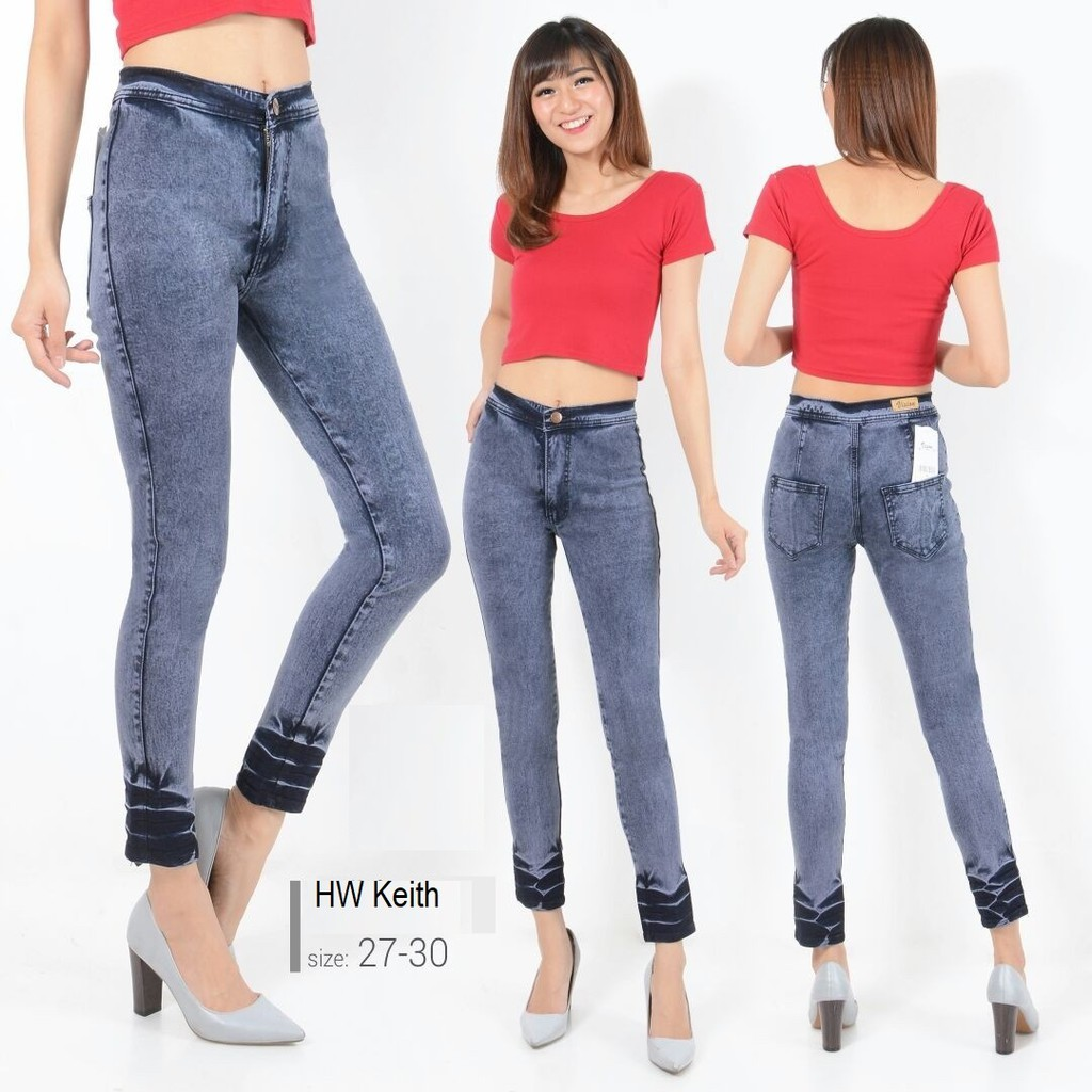 Hopylovy Hw Jeans Celana Highwaist High Waist Shopee Indonesia Black Premium Wanita Size 27 30