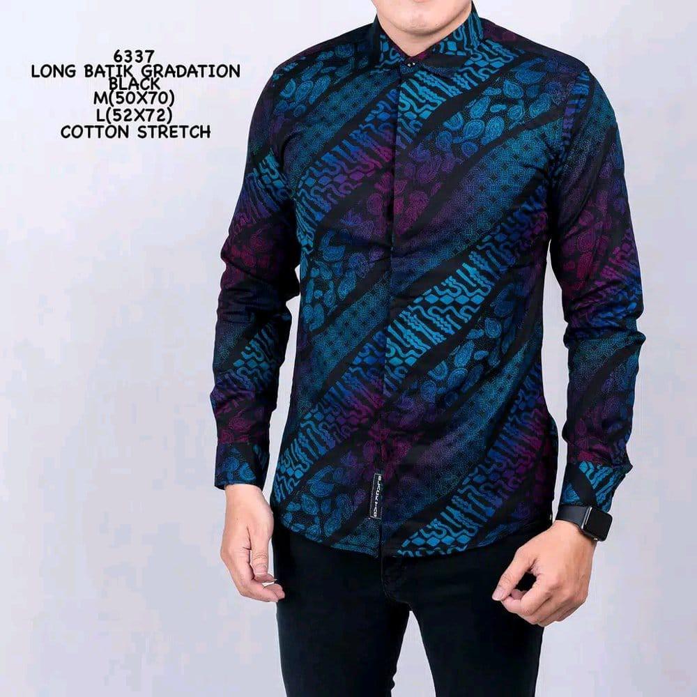 Baju Batik Kemeja Pria Batik Songket Gradasi Warna Hitam Biru Modern Slimfit Casual Blue Black