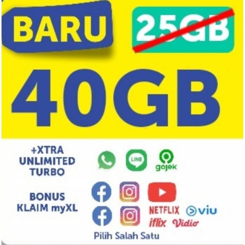 VOUCHER DATA XL XTRA COMBO LITE UNLIMITED KUOTA 40GB 60GB 30 Hari