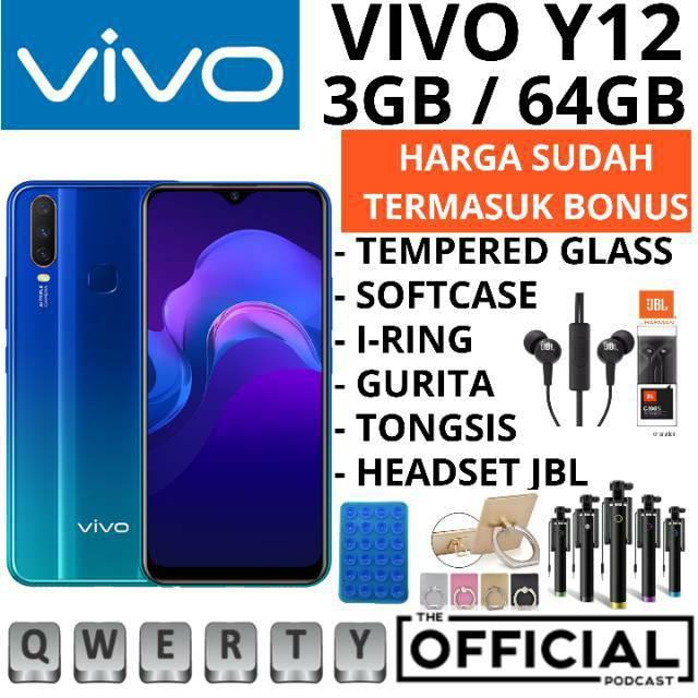 VIVO Y12 Y12I 3/64 RAM 3GB ROM 64GB ROM 32GB GARANSI RESMI VIVO  1 TAHUN - HP VIVO Y12 Y12I