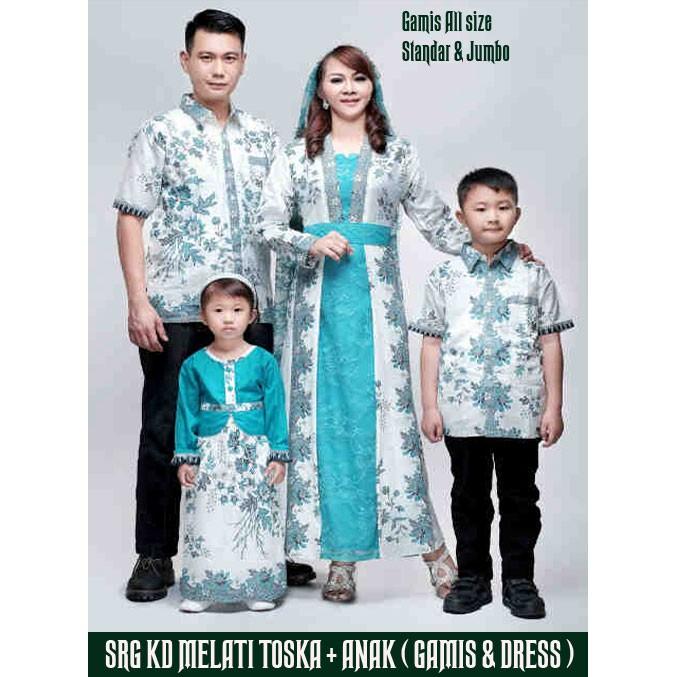 Sarimbit Keluarga Gamis Kd Melati Krem Toska Baju Batik Keluarga