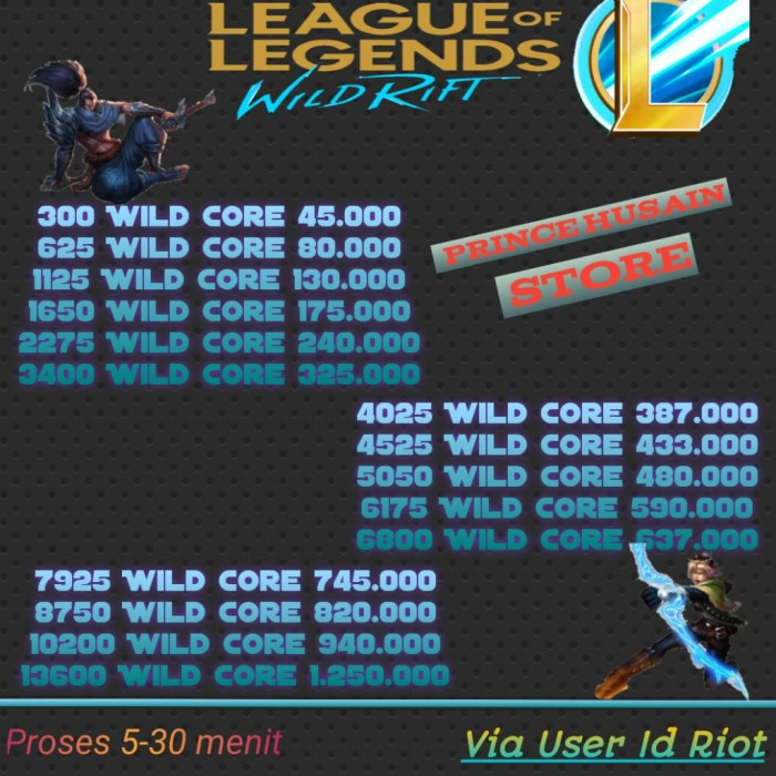Top Up Wild Core League of Legends Wild Rift - 2275