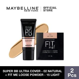 Maybelline Super BB Ultra Cover SPF 50 BB Cream (02 Natural) + Fit Me Loose Powder (15 Light) thumbnail