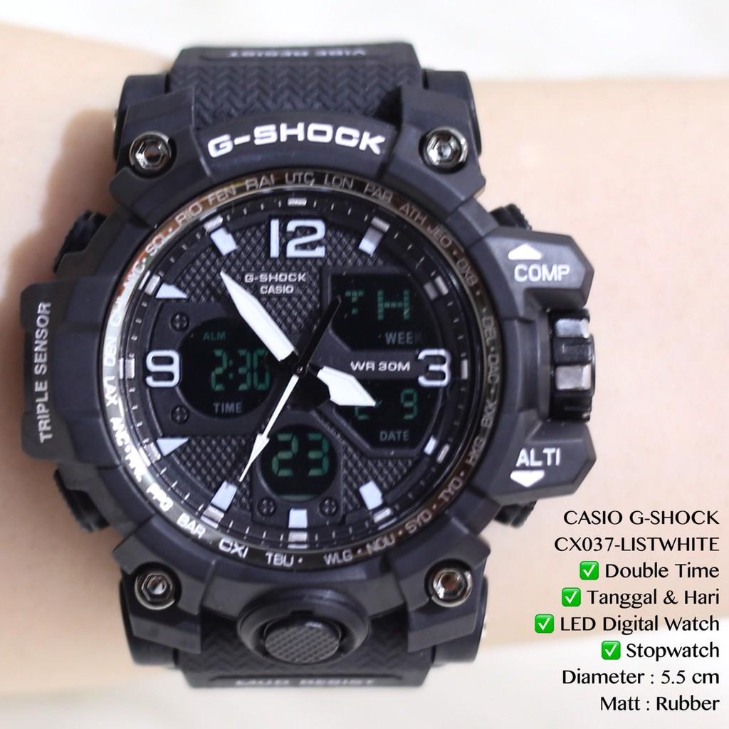 Jam tangan pria cowok casio gshock laki2 grosir murah dual time digital analog CX027 CX036