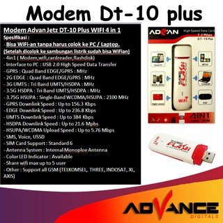 MODEM Advan Jetz DT-10 Plus WIFI 4 in 1. suka .