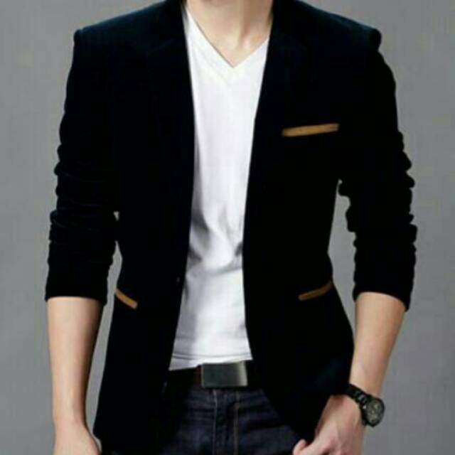 BLAZER PRIA DETECTIVE - Jaket Cowok Coklat Muda Detektif Style Korea Casual  Santai Kuliah Perform MC  5c74563f2f