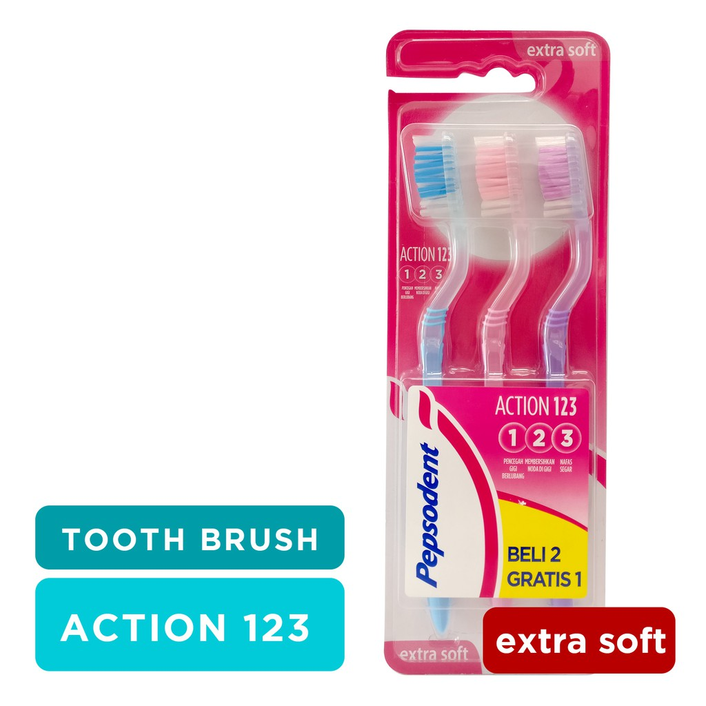 READY STOK PEPSODENT ACTION 123 SIKAT GIGI MEDIUM MULTIPACK ISI 3 ... 9325633c56