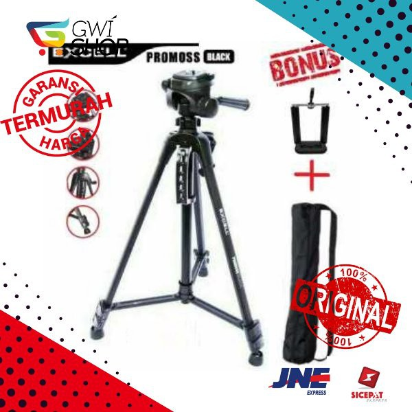Tripod Excell Promoss Black Hitam camera DSLR Handycam holder hp | Shopee Indonesia