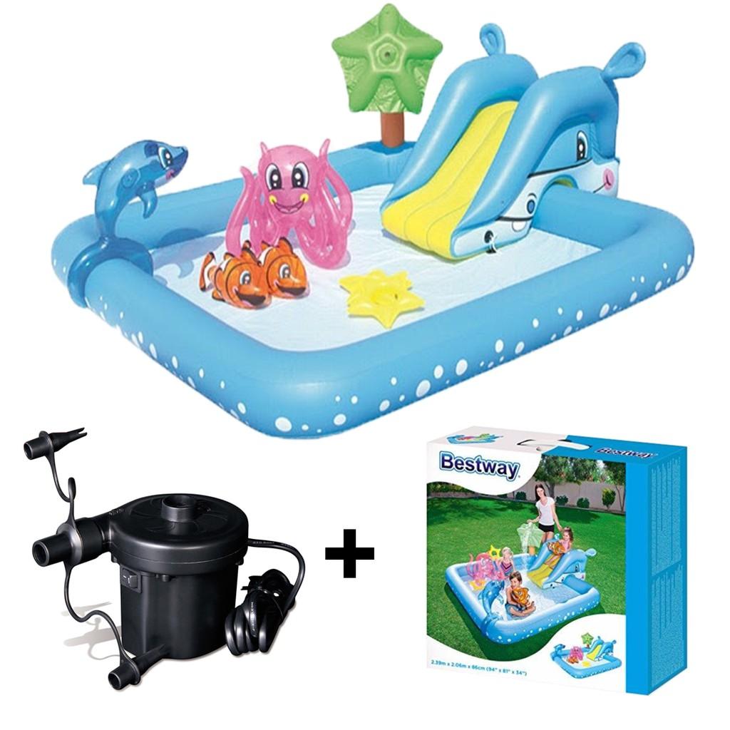 Paket Bestway Fantastic Aquarium Play Pool Pompa Kolam Renang Perosotan Anak