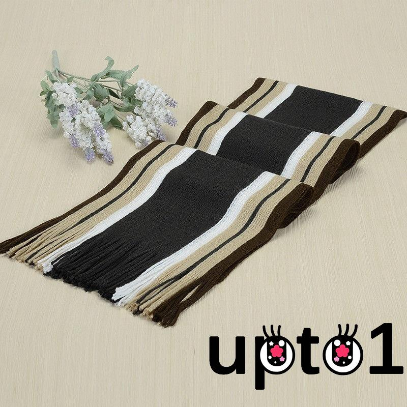 Men Classic Scarf Shawl Winter Warm Long Fringe Striped Tassel Wrap Scarves New