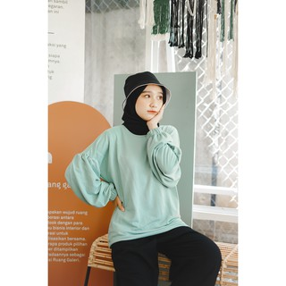 Mybamus Elnara Plain Balloon Tops Jade Green M15671 R102S4