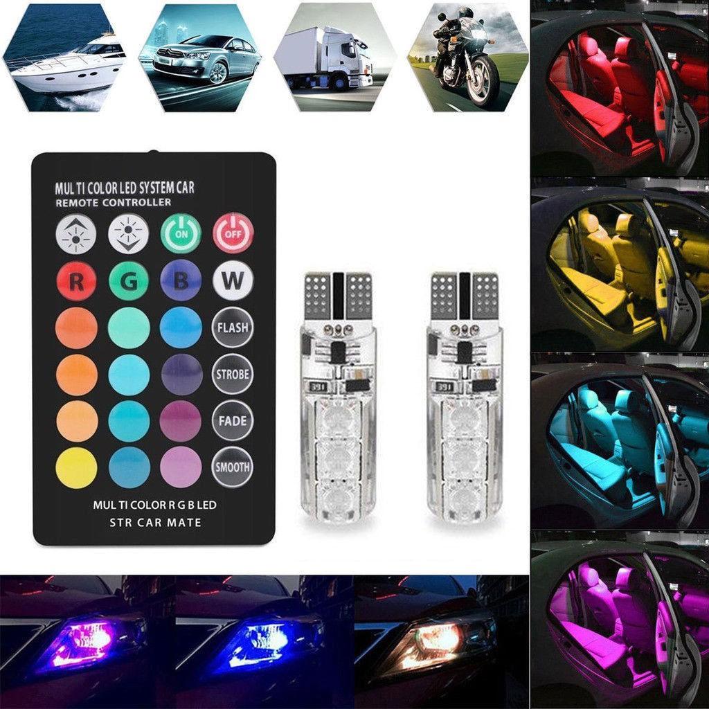 2Pcs Lampu LED Wedge T10 5050 RGB Penuh Warna dengan Remote Control untuk Interior Mobil   Shopee Indonesia