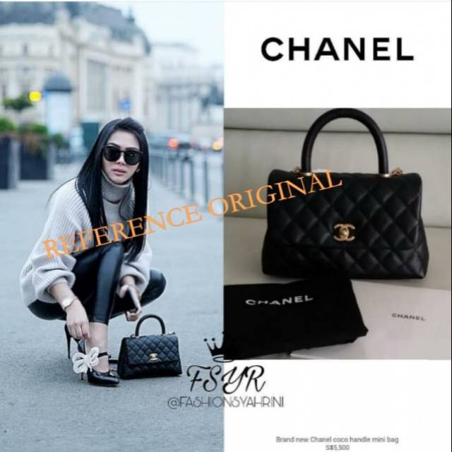 1676b62dcb837 Chanel Coco Handle Lambskind   Caviar With Dustbag Kain