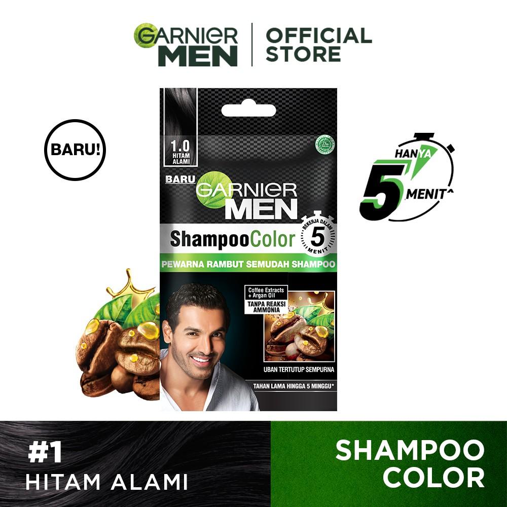 Garnier Men Shampoo Color (Pewarna Rambut Pria Semudah Shampoo)-Black Sachet