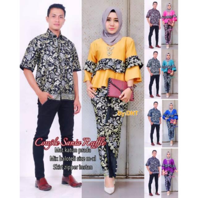 Shopashop Solo Amis Kebaya Modern Sarimbit Batik Pesta Batik Couple Keluarga Couple Sania Ruffle