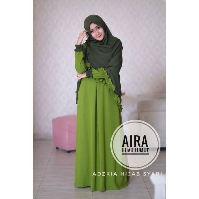 Gamis Justmine Hijau Lumut By Adzkia Hijab Shopee Indonesia