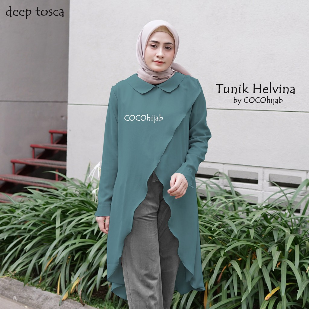 Lapak Jilbab Tunik Wolly Crepe Helvina Deep Tosca