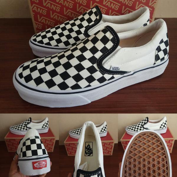 Sepatu Vans Slip On Motif Checker Board Catur Kotak Kotak White