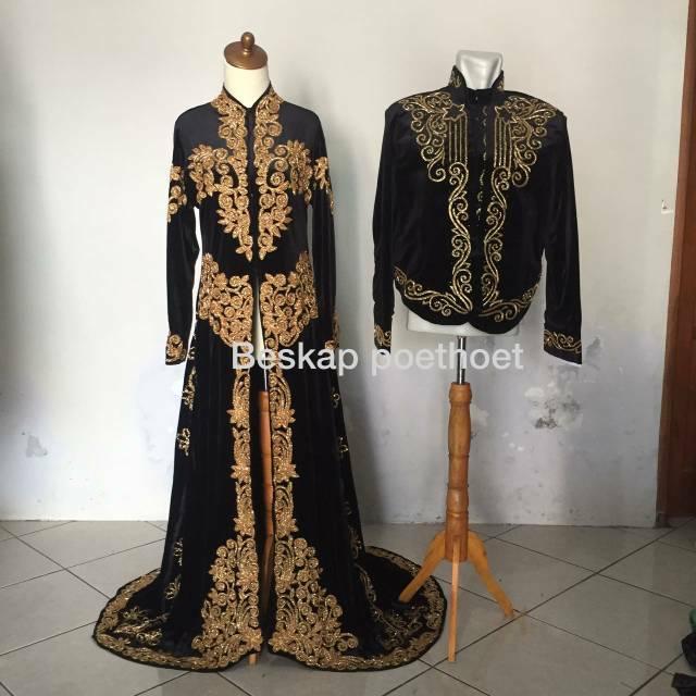 Set Baju Pengantin Adat Jawa Bludru Hitam Emas Muslim Muslimah Modern Simple Elegan Gratis Selop