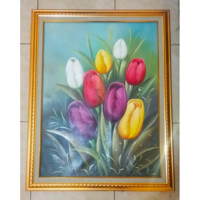 Lukisan Bunga Tulip Bingkai Pigura Ukuran 80cm X 60cm Shopee Indonesia