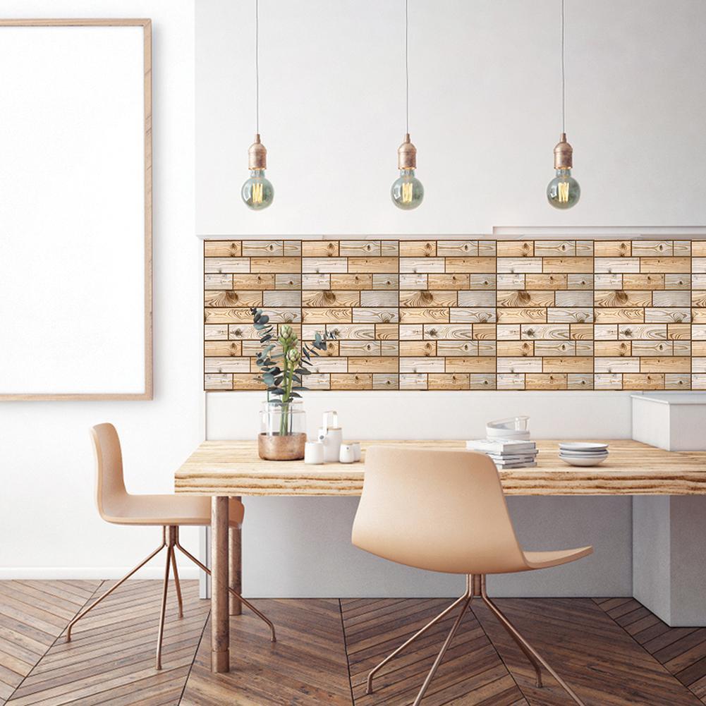 Stiker Dinding Dengan Bahan Mudah Dilepas Dan Gambar Motif Kayu 3D Untuk Dekorasi Rumah