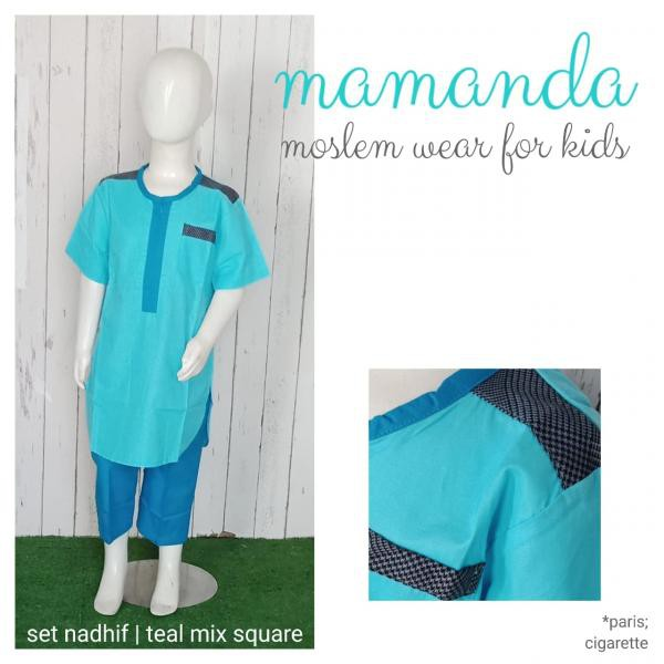 Koko Anak Teal Mix Square Set Nadhif by Mamanda