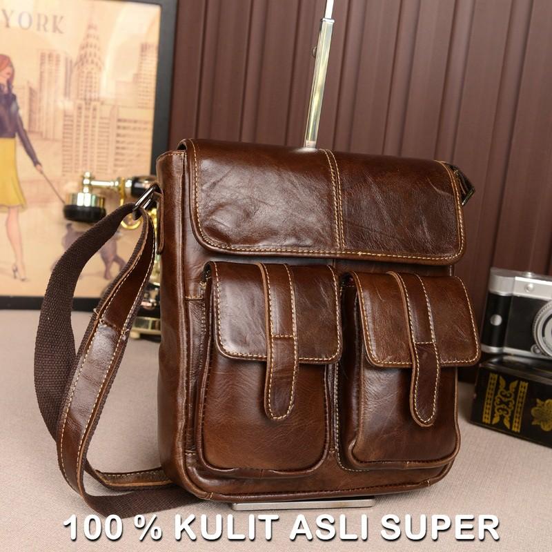 Tas Kulit Asli import Kerja Kantor Pria FULL CRAZY HORSE Cowok Premium Real  Leather Laptop Slempang  fc71c6698a