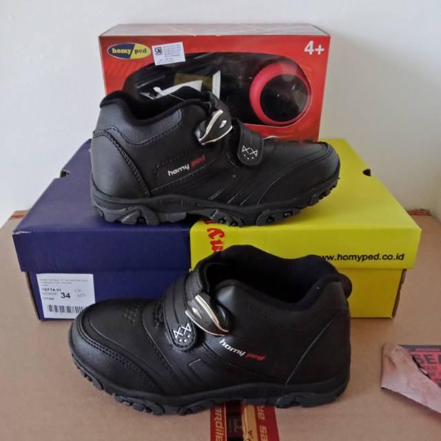 Sepatu Sekolah Anak Magnet Homyped Original Yefta Berhadiah Mainan