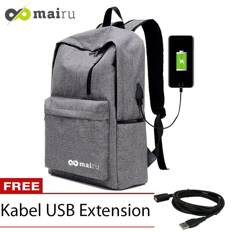 Mairu Tas Ransel Laptop Pria Wanita Sekolah Kanvas Travel Support USB  Charger Port Korea BC-HB-USB  2b929619d5