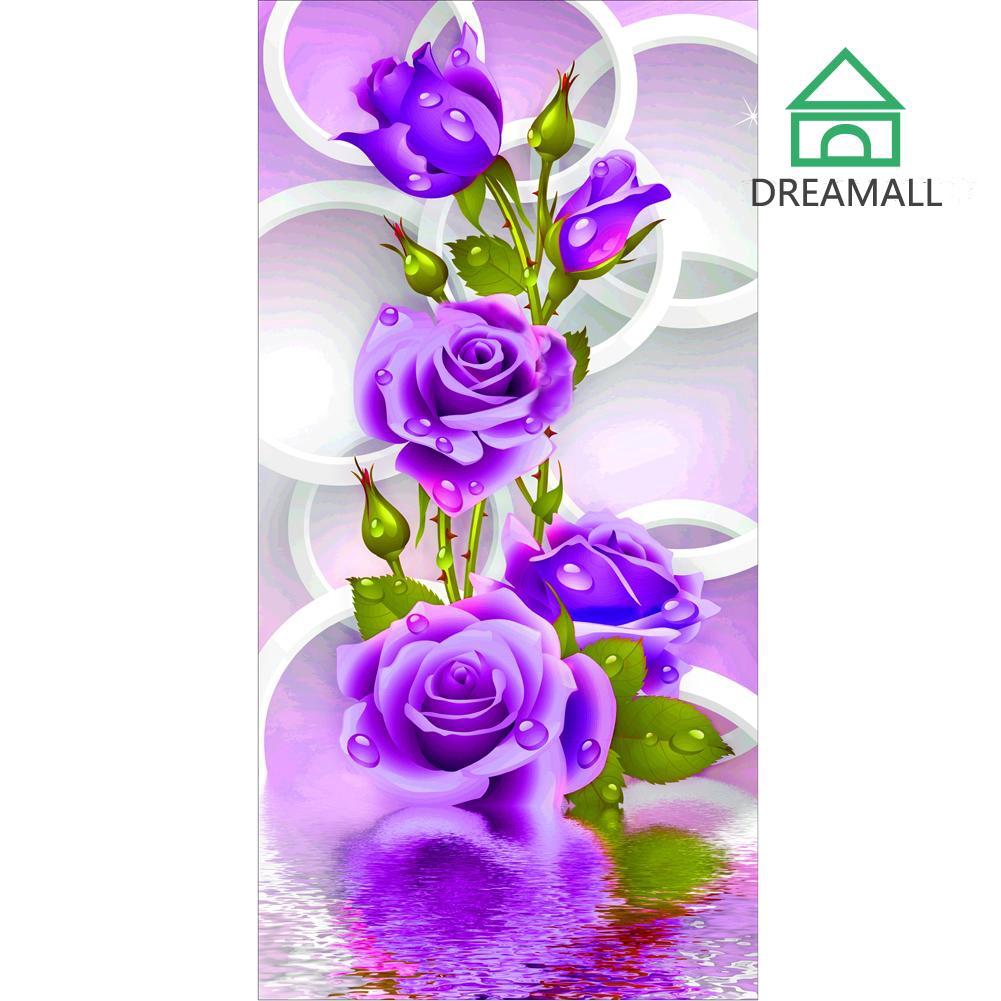 Lukisan Diamond 5d Diy Gambar Bunga Mawar Ungu Untuk Dekorasi Rumah Shopee Indonesia