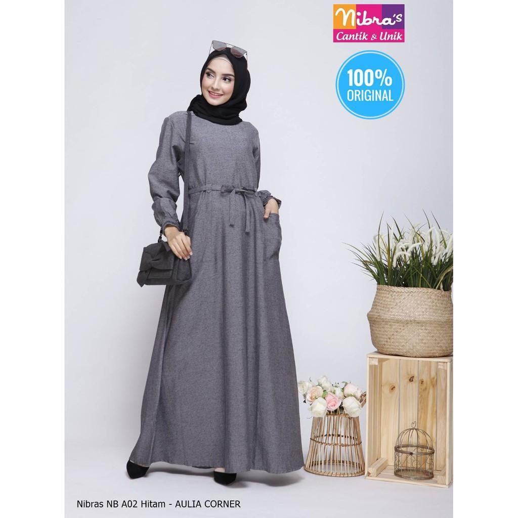 Baju Muslim Gamis Nibras NB A11 Hitam ORIGINAL Baju Gamis Wanita Lazada