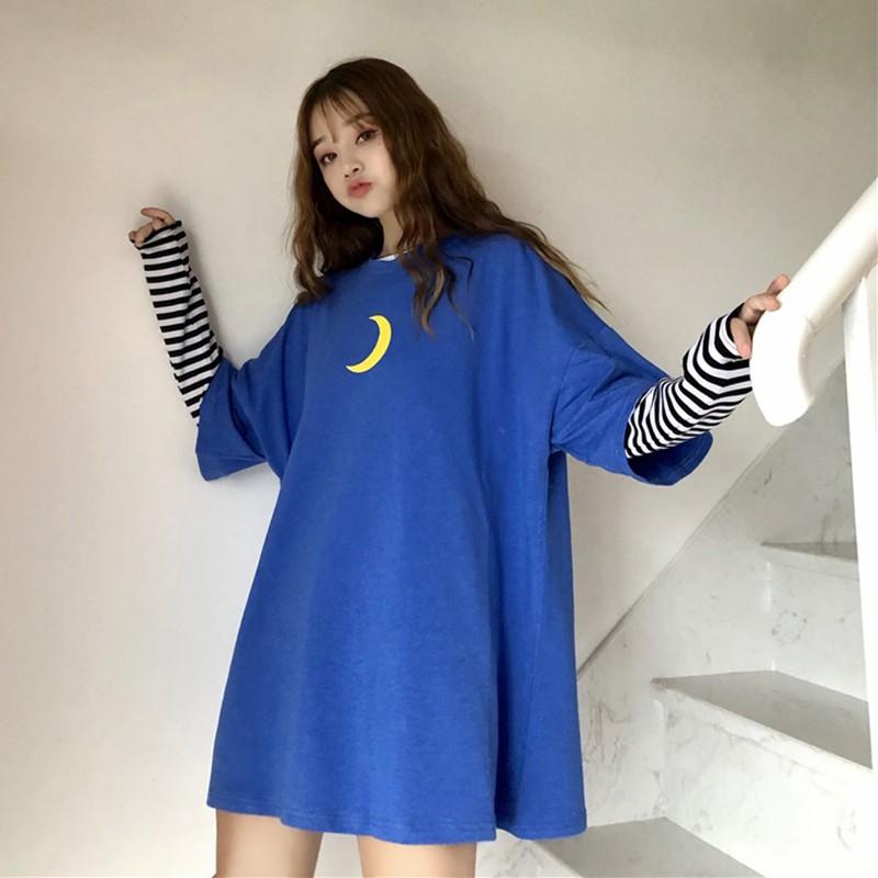 Women Round Collar Summer Cartoon Moon Print Loose Short Sleeve Casual Simple Wild T-Shirt