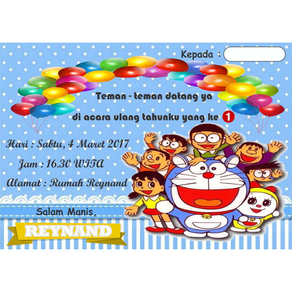 Kartu Undangan Ulang Tahun Doraemon B Shopee Indonesia