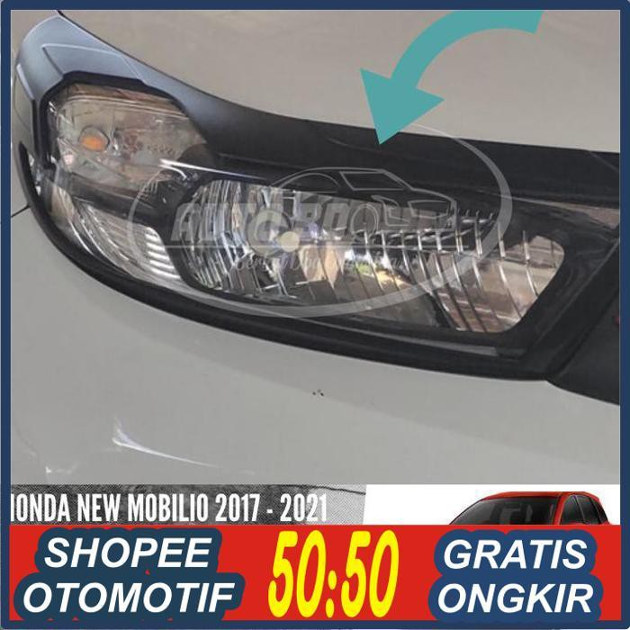 jual aksesoris mobil/ Garnish Lampu Depan Headlamp Hitam Doff New Mobilio 2017-2019