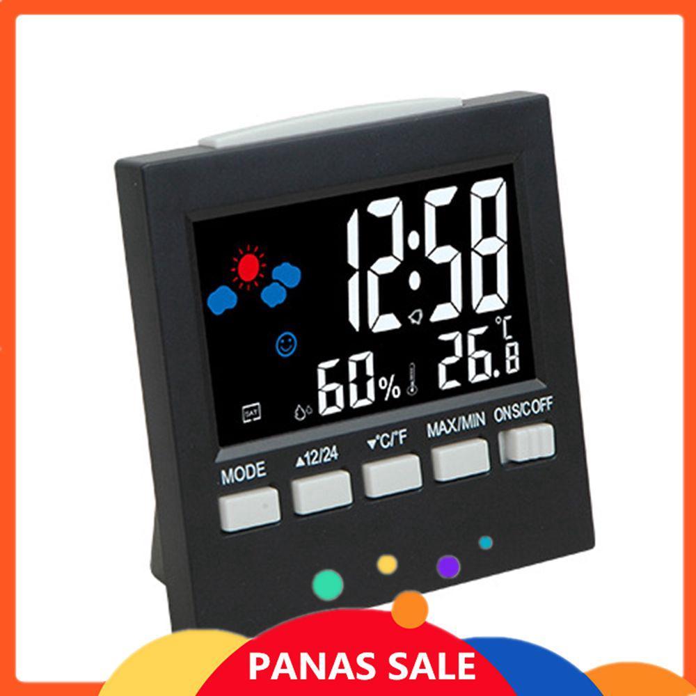 Jam Alarm Digital dengan Layar LCD + Termometer + Kalender + Ramalan Cuaca b135c838f384f