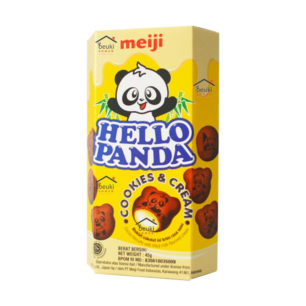 Meiji Hello Panda Cookies & Cream Box Biskuit Bentuk Panda Isi Cookies &  Cream Nikmat - 45gr | Shopee Indonesia