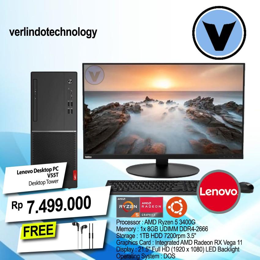 """Lenovo Desktop PC V55T 21"""" Ryzen 5-3400G 8GB 1TB HDD Vega11 DOS 3 Tahun"""