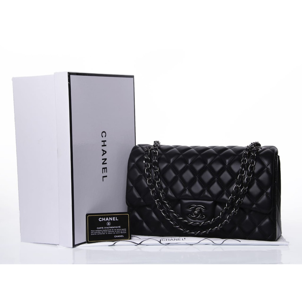 547ce1f399d4 Tas Chanel Classic Flap Medium Lambskin HITAM Seprem Box 9601 | Shopee  Indonesia