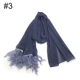 Pashmina Scarfl Large Feather Animal Print Blue Brown  Wrap Shawl