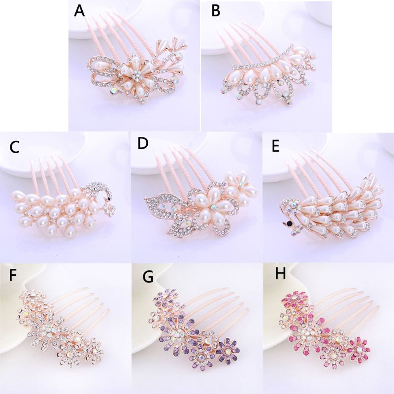 J Pearl Crystal Bridal Hair Accessories Rose Gold Hair Comb For Brides Wedding Shopee Indonesia