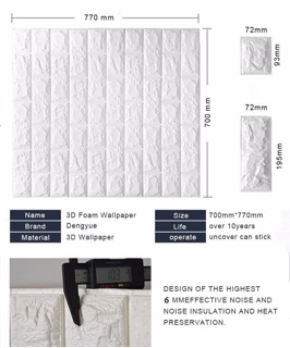 Wallpaper Sticker Foam Batu Bata Putih 3D Timbul 70x77cm