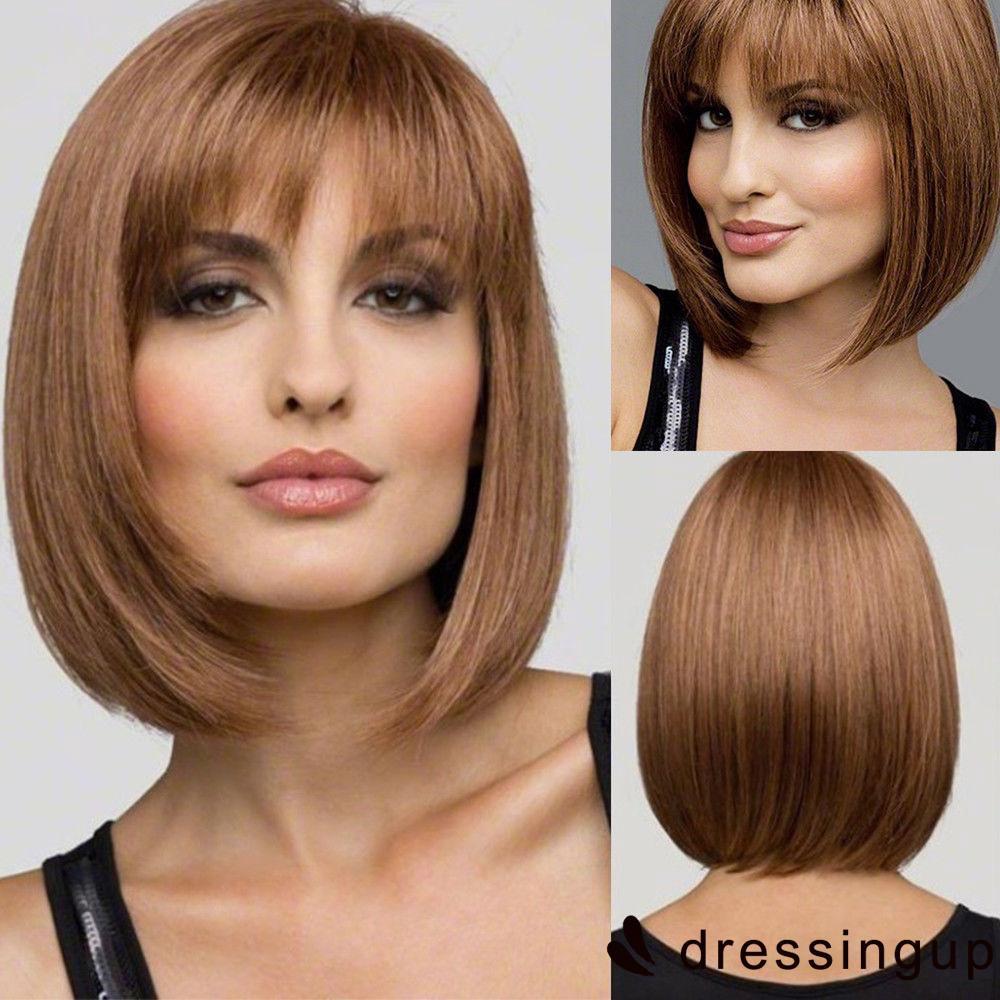 Srr Fashion Wig Rambut Palsu Wanita Model Bob Pendek Bahan Fiber Tahan Panas Warna Coklat Shopee Indonesia