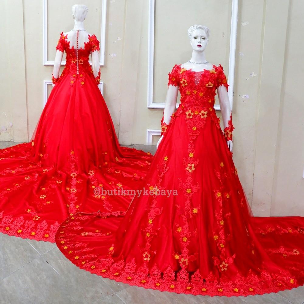 Kebaya Pengantin Gaun Mewah Bahan Brokat 3d Wedding Dress Gown Shopee Indonesia