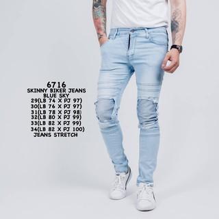 Credomenstore Celana Jeans Biker Sobek Biru Muda / Celana Panjang Pria