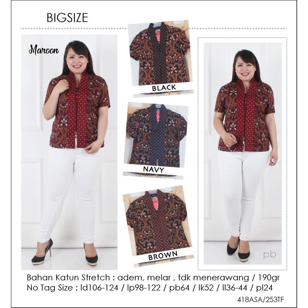 Blouse Batik Jumbo Blouse Bigsize Atasan Batik Big Size 256WD   Shopee Indonesia