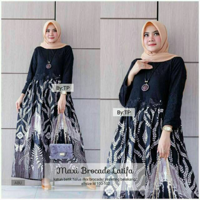 Gamis Batik Mix Brokat Shopee Indonesia