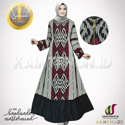 Gamis Batik Wanita Muslimah Kain Tenun Ikat Troso Handmade Gms012 Shopee Indonesia